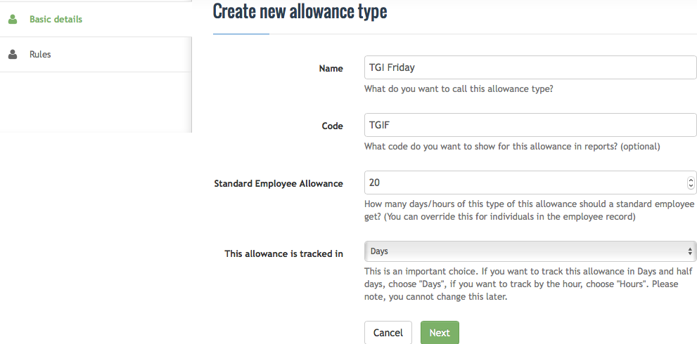 Create new allowance type